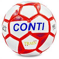 Футбольный мяч 4 размер для улицы CONTI Ручной шов Полиуретан Белый-красный (EC-08), фото 1