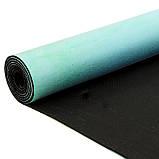 Килимок для йоги Замшевий каучуковий двошаровий 3мм Record FI-5662-23, бірюзовий-рожевий, фото 5