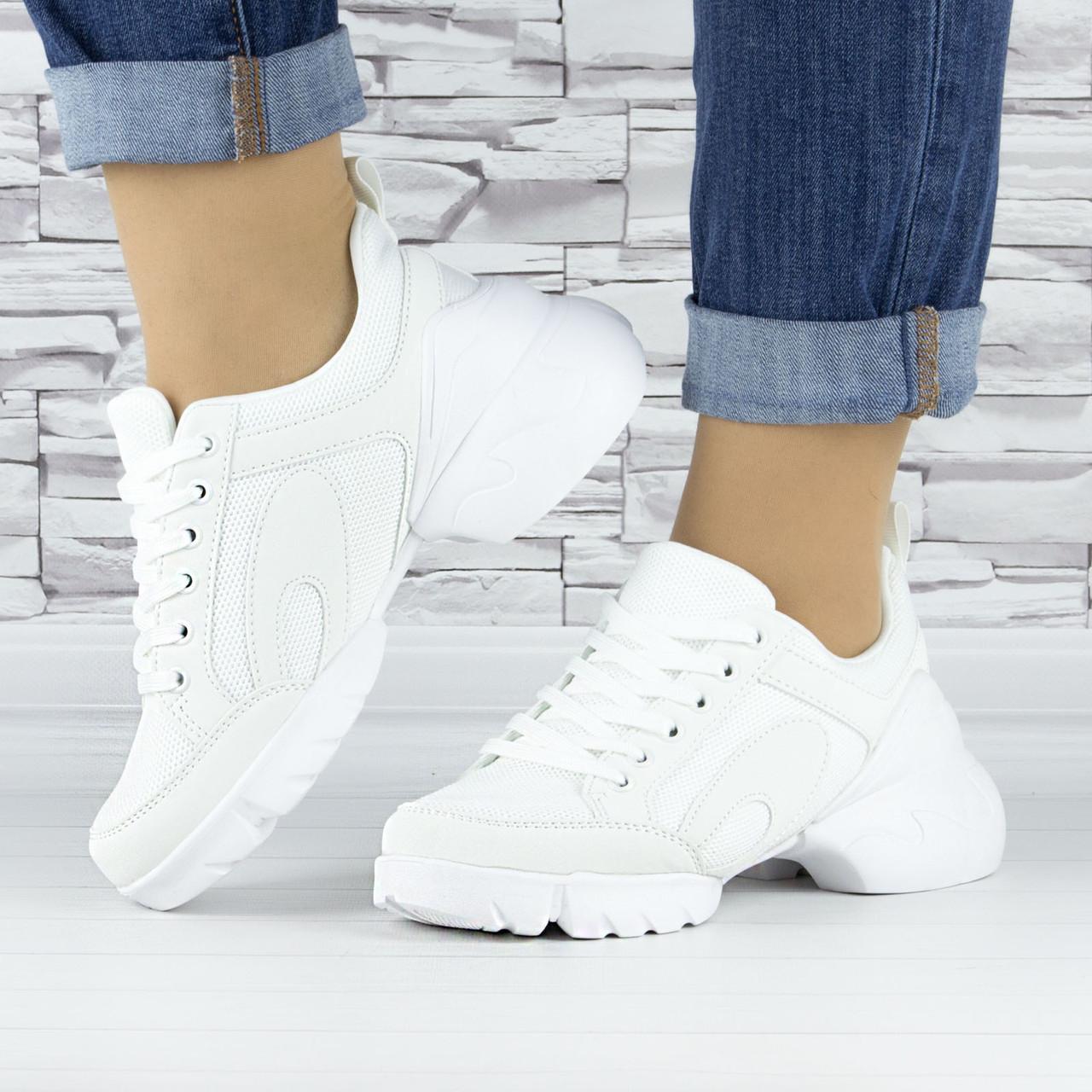 Кросівки жіночі білі сіточка еко нубук (b-698)
