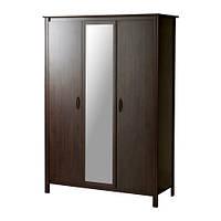 БРУСАЛИ Шкаф платяной 3-дверный, коричневый 131x190 см
