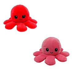 Мягкая игрушка осьминожка перевёртыш двухсторонний большой красный-розовый