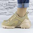 Кросівки жіночі бежеві сіточка еко нубук (b-699), фото 2