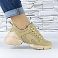 Кросівки жіночі бежеві сіточка еко нубук (b-699), фото 3
