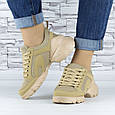Кросівки жіночі бежеві сіточка еко нубук (b-699), фото 4