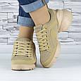 Кросівки жіночі бежеві сіточка еко нубук (b-699), фото 5
