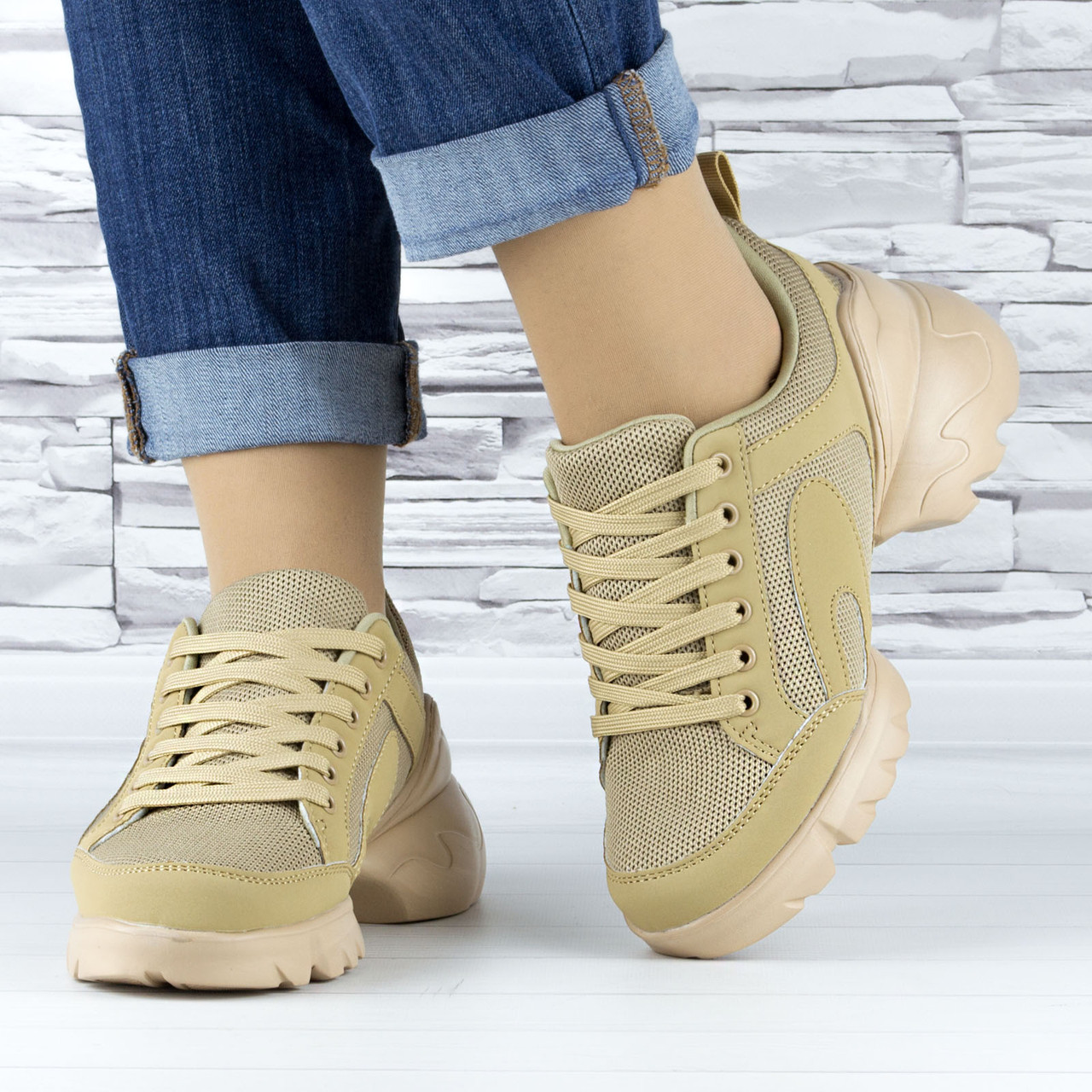 Кросівки жіночі бежеві сіточка еко нубук (b-699)