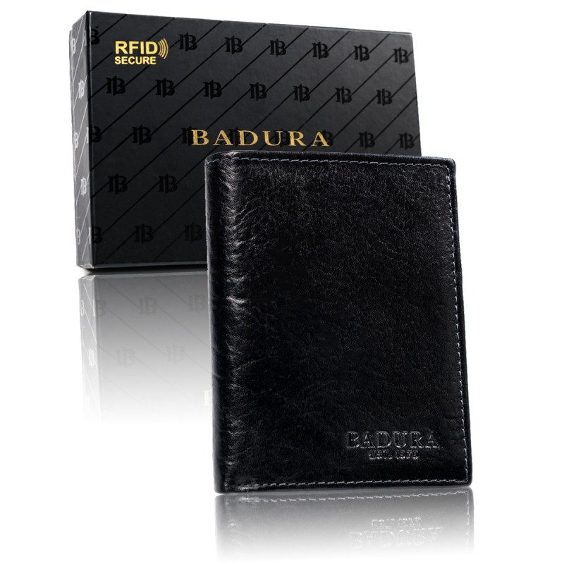 Чоловічий шкіряний гаманець Badura з RFID 12,5 х 10 х 2,5 (PO_M049CZ_CE) - чорний