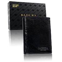 Чоловічий шкіряний гаманець Badura з RFID 12,5 х 10 х 2,5 (PO_M049CZ_CE) - чорний, фото 1