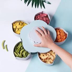 Вращающаяся тарелка для закусок фруктов и сладкого, менажница в виде цветка на 5 секций,одноярусная