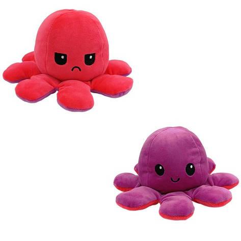 М'яка іграшка восьминіг перевертиш двосторонній великий червоний-бузковий, фото 2