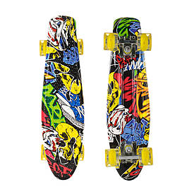 Пенниборд-скейт 25, двухсторонний окрас, колёса PU СВЕТЯЩИЕСЯ