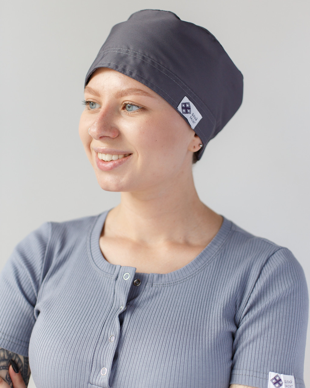 Медицинская шапочка темно-серая