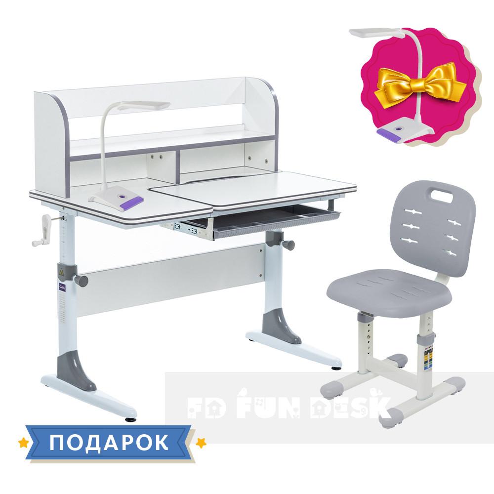 Комплект зростаюча парта для школярів Cubby Nerine Grey + стілець FunDesk SST2 Grey