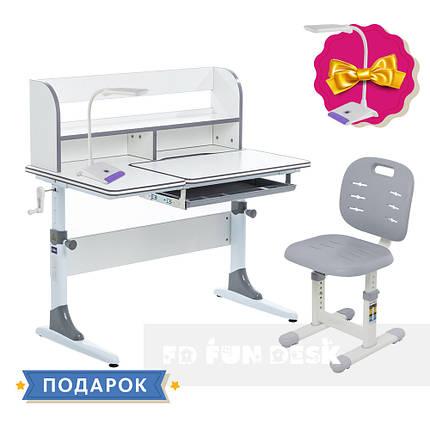 Комплект зростаюча парта для школярів Cubby Nerine Grey + стілець FunDesk SST2 Grey, фото 2