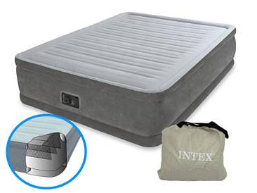Надувная двуспальная кровать Intex 64414 со встроенным электро насосом (152-203-46 СМ)