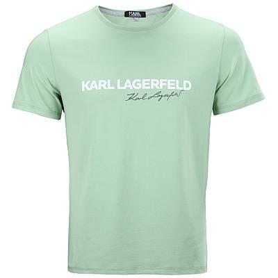 Футболка мужская мята KARL LAGERFELD с принтом №2 Ф-10 MINT L(Р) 20-836-020