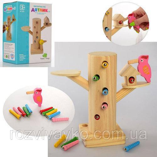 Деревянная игрушка Игра  Дятел, магнитная, пенек, гусеници