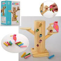 Деревянная игрушка Игра  Дятел, магнитная, пенек, гусеници, фото 1
