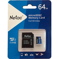 Карта памяти Netac microSDXC 64GB Class 10 UHS-I U1 + SD-адаптер (NT02P500STN-064G-R)