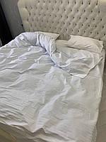 Полуторна постільна білизна Ranforce біле в смужку