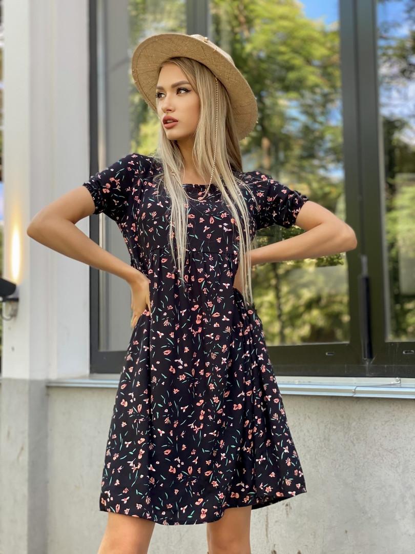 Платье штапель мини с цветочным принтом