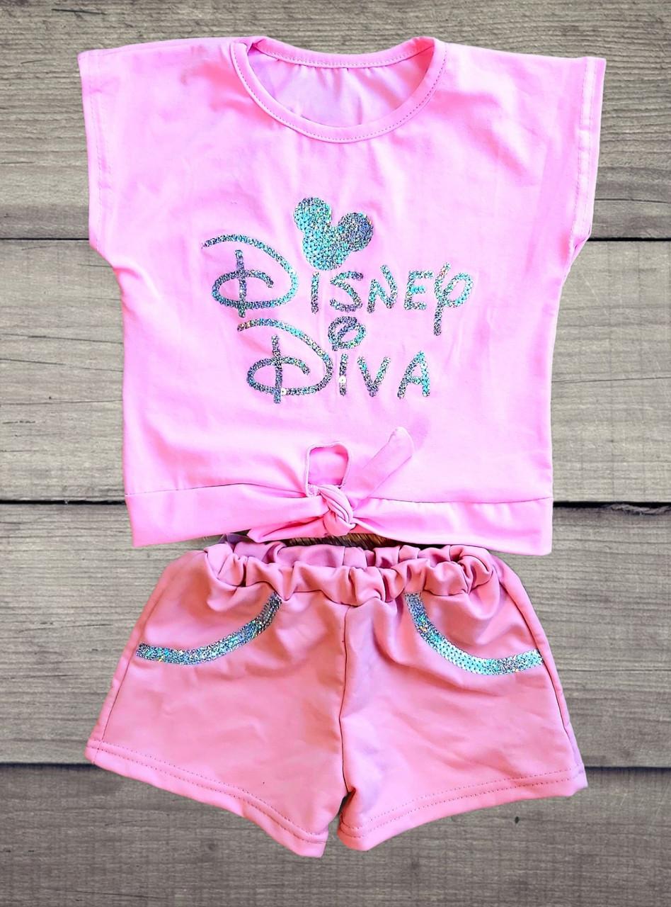 """Дитячий костюм футболка-топ з кулира вузлик і шорти з паєтками """"Disney Diva"""""""