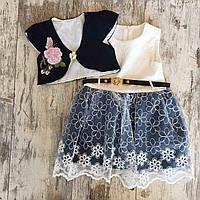 """Сукня з болеро дитяча """"ТРОЯНДА"""" для дівчинки 2-4 роки,темно-синій з білим"""
