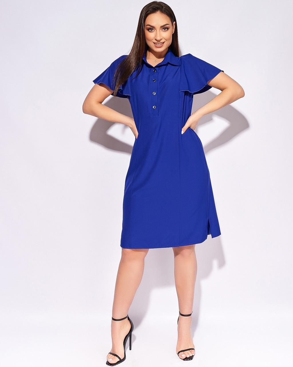 Летнее стильное платье рукава воланы, рубашечный воротник, размеры до 64