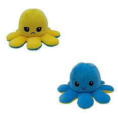 Мягкая игрушка осьминожка перевёртыш двухсторонний большой желтый-синий