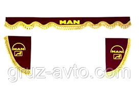 Шторки в кабину MAN МАН (лобовое стекло-1 и боковые-2 цвет бордовый