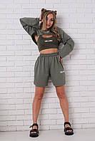 Стильный костюм-тройка: шорты, топ и болеро, фото 1
