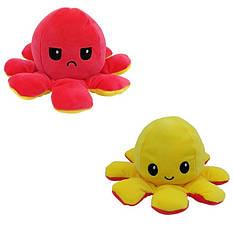 Мягкая игрушка осьминожка перевёртыш двухсторонний большой красный-желтый