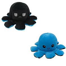 М'яка іграшка восьминіжка перевертиш двосторонній великий чорний-синій