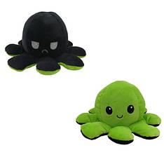 М'яка іграшка восьминіжка перевертиш двосторонній великий чорний-зелений