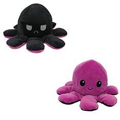 Мягкая игрушка осьминожка перевёртыш двухсторонний большой черный-сиреневый