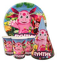 """Набор для детского дня рождения """" Лунтик """". Тарелки -10 шт. Стаканчики - 10 шт. Колпачки - 10 шт."""