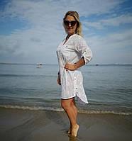 Женская летняя Туника-Рубашка белая.Удленненная рубашка с полукруглым низом. Вышивка. Хлопок. Индия