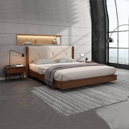 Кровать деревянная с мягким изголовьем  Сиена , ArtWood цвет орех, фото 2