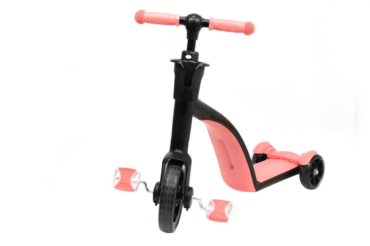 Детский самокат велосипед беговел трансформер 3 в 1 (светящиеся колеса в движении) (Розовый)
