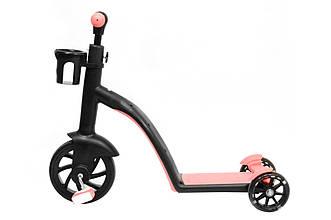 Детский беговел - самокат велосипед трансформер 3в1 (светящиеся колеса в движении)(Розовый)