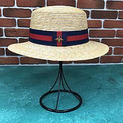 Канотье соломенная шляпа City-a Бежевая с черной лентой с Пчелой