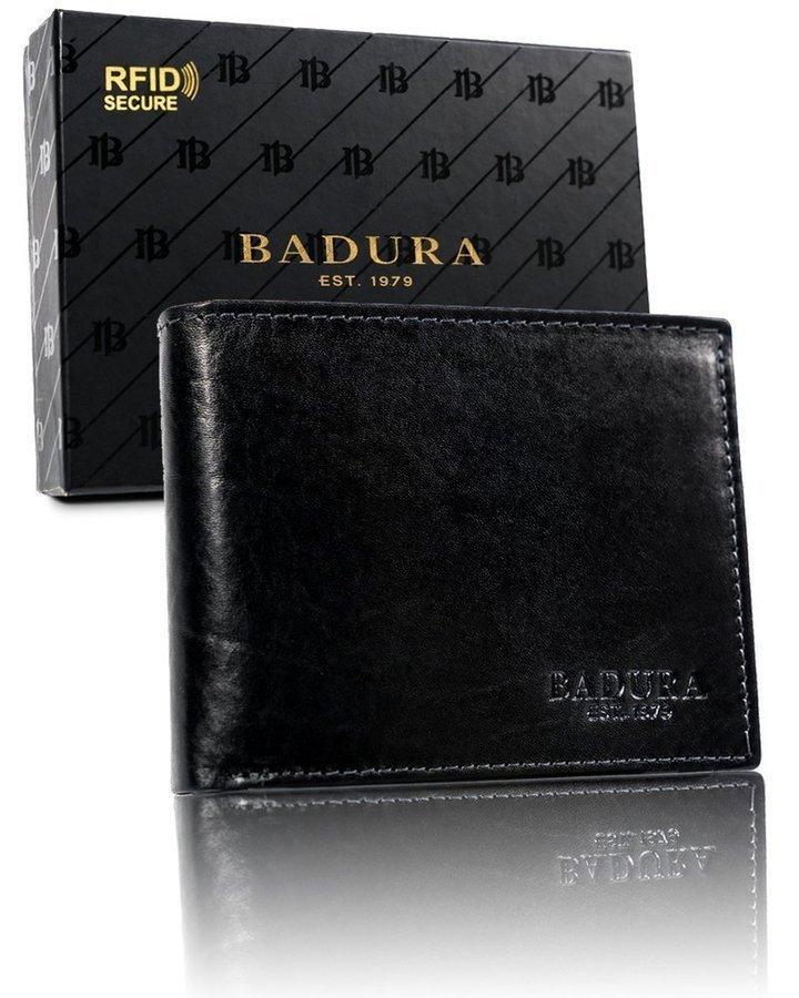 Чоловічий шкіряний гаманець Badura з RFID 9,5 х 12 х 2,5 (PO_M047CZ_CE) - чорний