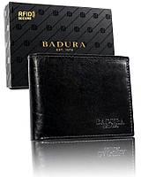 Чоловічий шкіряний гаманець Badura з RFID 9,5 х 12 х 2,5 (PO_M047CZ_CE) - чорний, фото 1