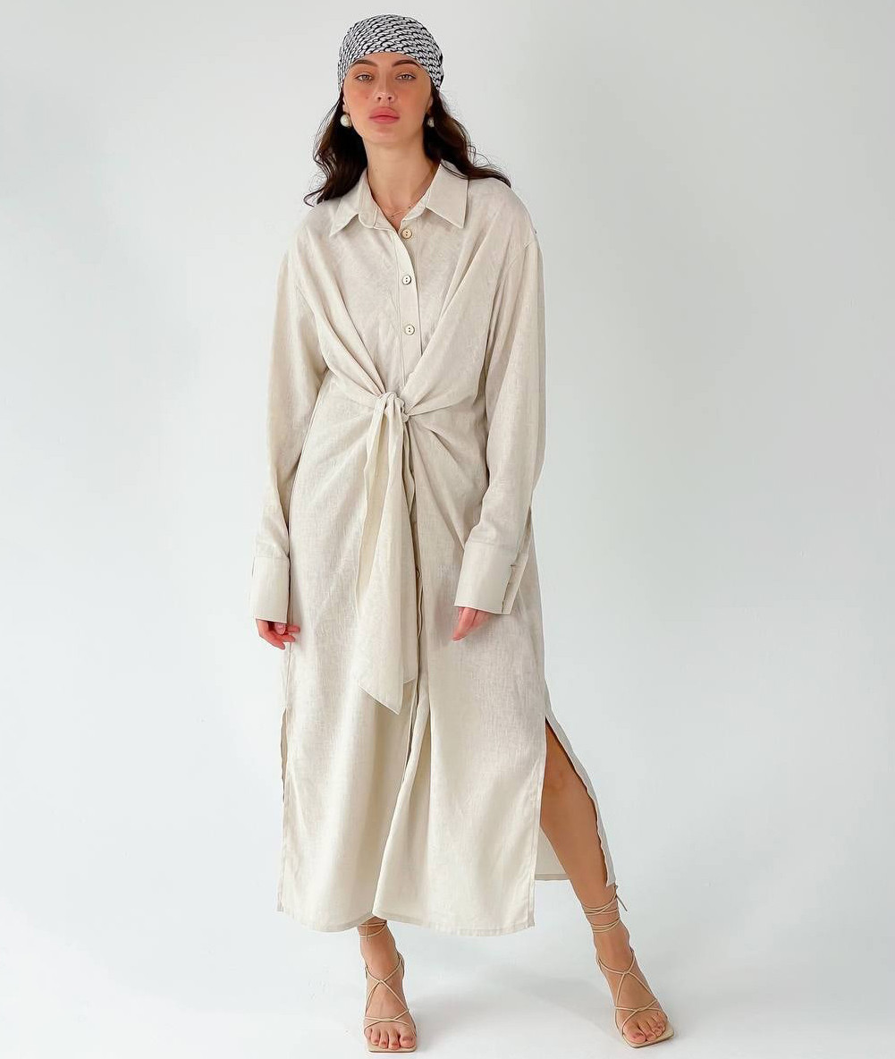 Длинное женское платье-рубашка из льна с завязками