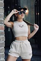 Стильный женский костюм шорты с высокой талией и топ