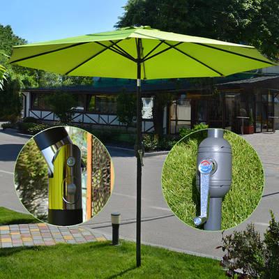 Усиленный пляжный зонт антиветер 3 м / Складной большой зонт с наклоном от солнца для пляжа и сада Салатовый