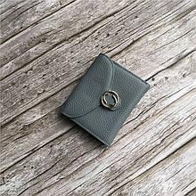 Мини кошелек с круглой застежкой + отдел для мелочи / натуральная кожа (10256) Серо-Голубой