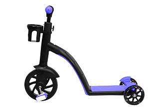 Детский беговел - самокат велосипед трансформер 3в1 (светящиеся колеса в движении)(Синий)