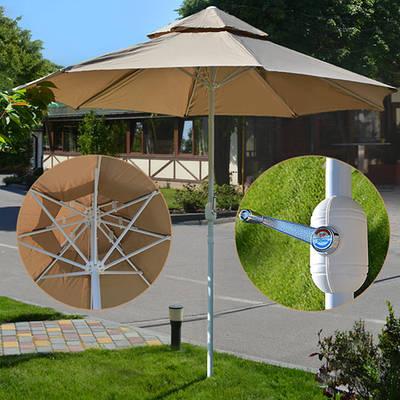 Усиленный пляжный зонт антиветер 2.7 м / Складной большой зонт от солнца для пляжа и сада Бежевый