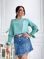 Женская красивая блуза с длинным рукавом манжет на резинке р-ры 50-52,54-56